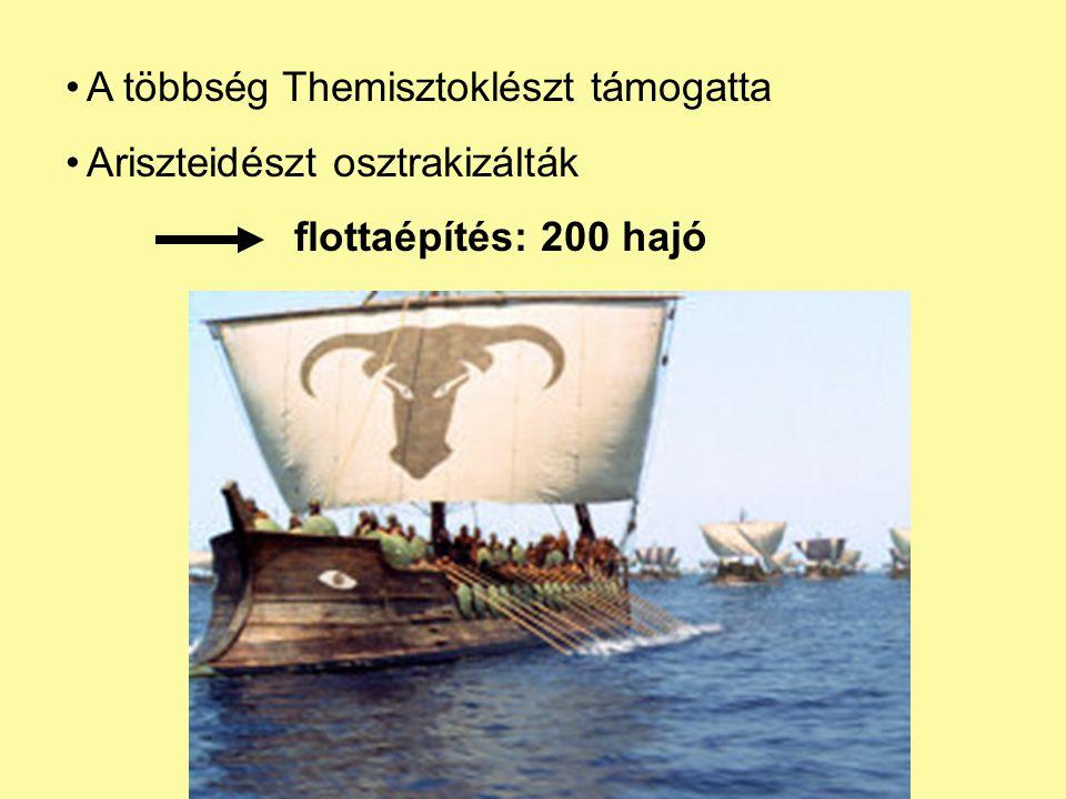 A többség Themisztoklészt támogatta Ariszteidészt osztrakizálták flottaépítés: 200 hajó
