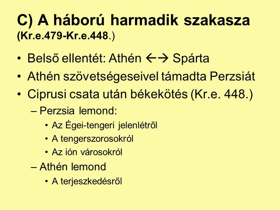 A háború után A kevésbé jelentős poliszok a két győztes köré csoportosultak: –Spárta: peloponnészoszi szövetség –Athén: déloszi szövetség