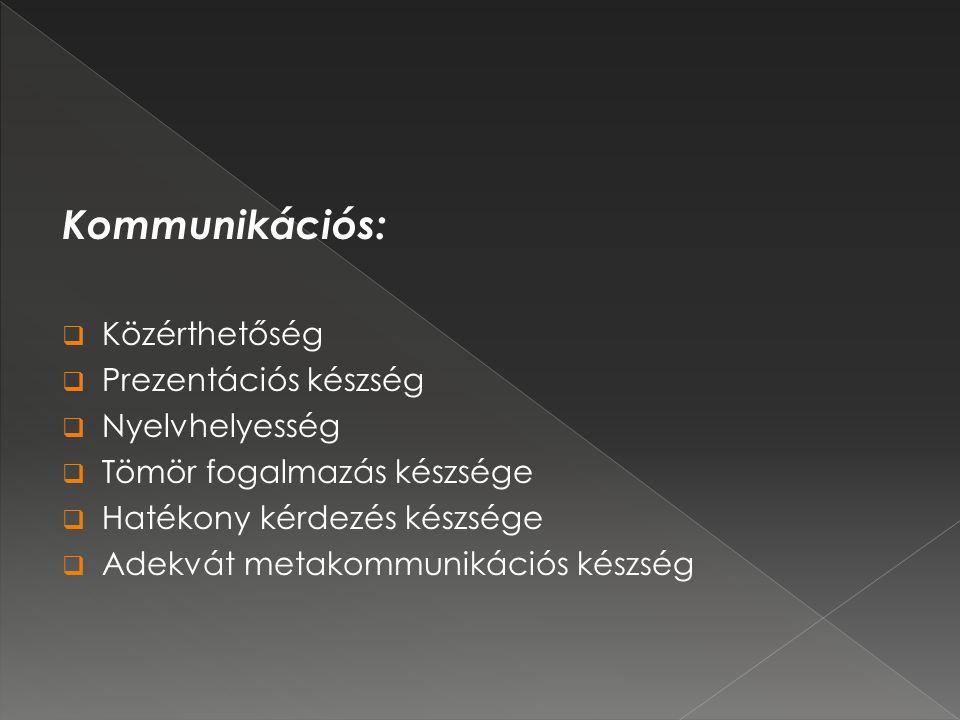 Kommunikációs:  Közérthetőség  Prezentációs készség  Nyelvhelyesség  Tömör fogalmazás készsége  Hatékony kérdezés készsége  Adekvát metakommunikációs készség
