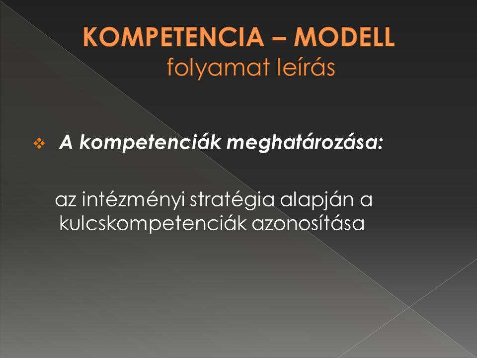  A kompetenciák meghatározása: az intézményi stratégia alapján a kulcskompetenciák azonosítása