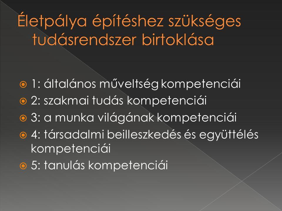  1: általános műveltség kompetenciái  2: szakmai tudás kompetenciái  3: a munka világának kompetenciái  4: társadalmi beilleszkedés és együttélés kompetenciái  5: tanulás kompetenciái