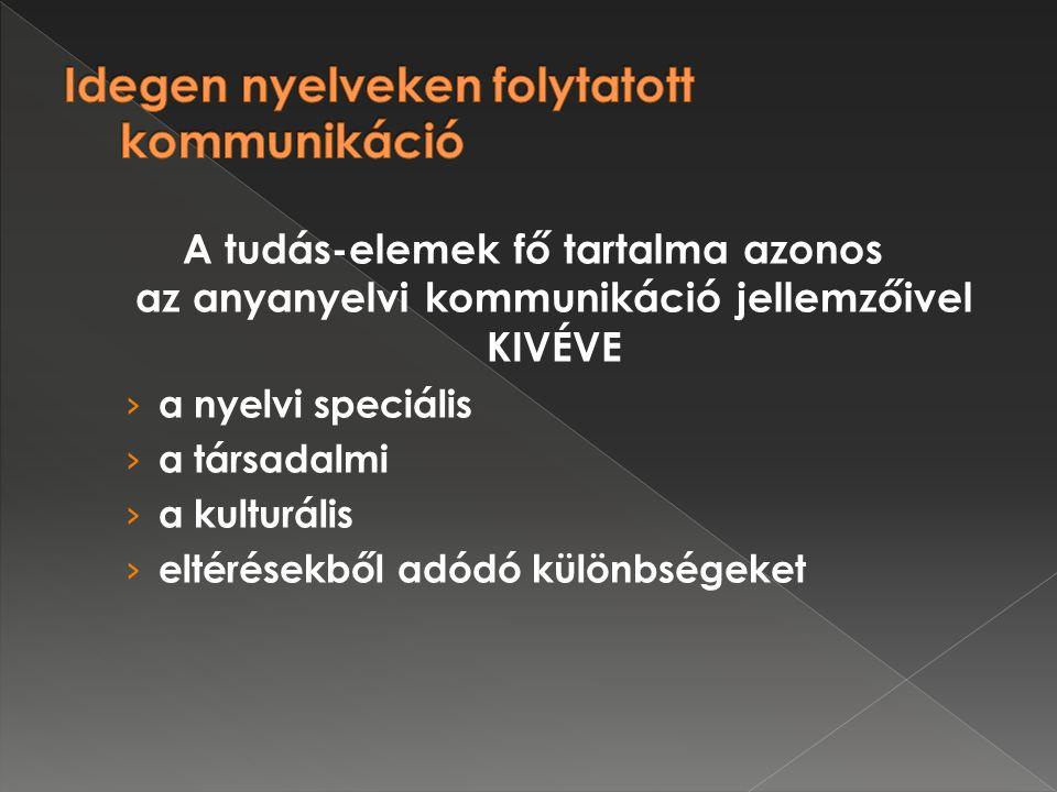 A tudás-elemek fő tartalma azonos az anyanyelvi kommunikáció jellemzőivel KIVÉVE › a nyelvi speciális › a társadalmi › a kulturális › eltérésekből adódó különbségeket