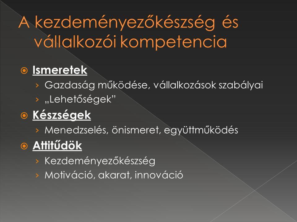 """ Ismeretek › Gazdaság működése, vállalkozások szabályai › """"Lehetőségek  Készségek › Menedzselés, önismeret, együttműködés  Attitűdök › Kezdeményezőkészség › Motiváció, akarat, innováció"""