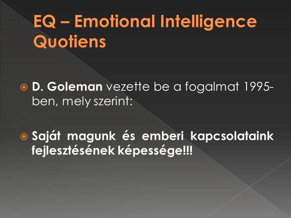  D. Goleman vezette be a fogalmat 1995- ben, mely szerint:  Saját magunk és emberi kapcsolataink fejlesztésének képessége!!!