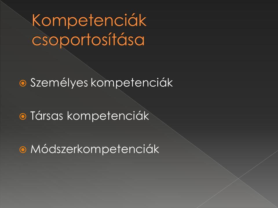  Személyes kompetenciák  Társas kompetenciák  Módszerkompetenciák