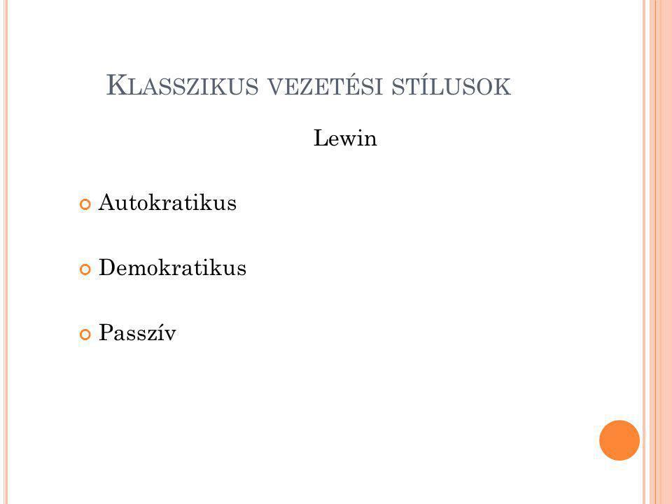 K LASSZIKUS VEZETÉSI STÍLUSOK Lewin Autokratikus Demokratikus Passzív