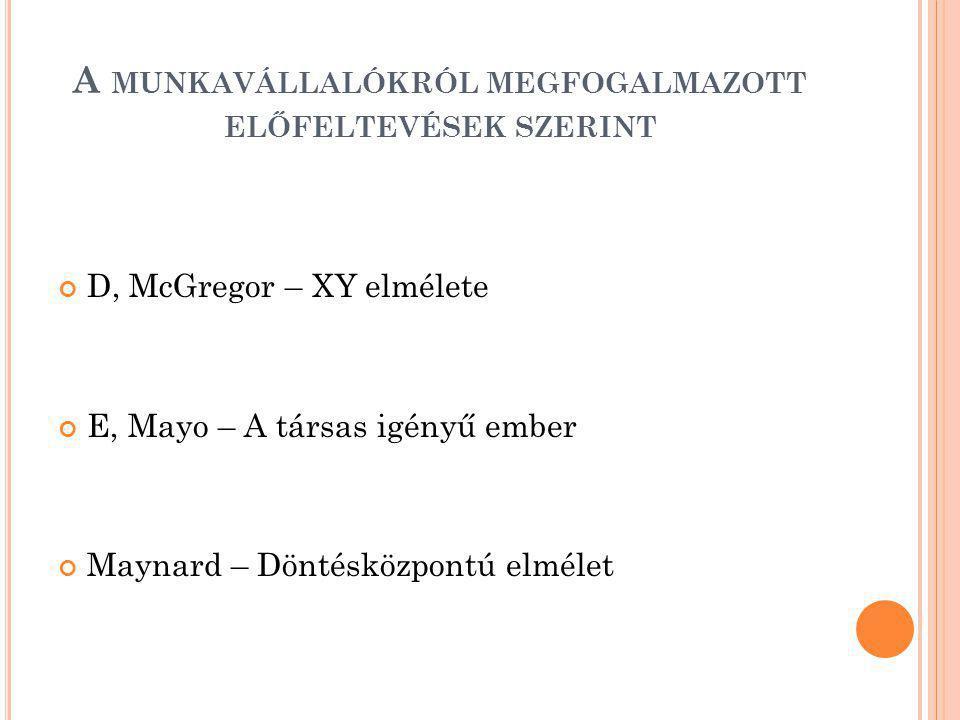 A MUNKAVÁLLALÓKRÓL MEGFOGALMAZOTT ELŐFELTEVÉSEK SZERINT D, McGregor – XY elmélete E, Mayo – A társas igényű ember Maynard – Döntésközpontú elmélet