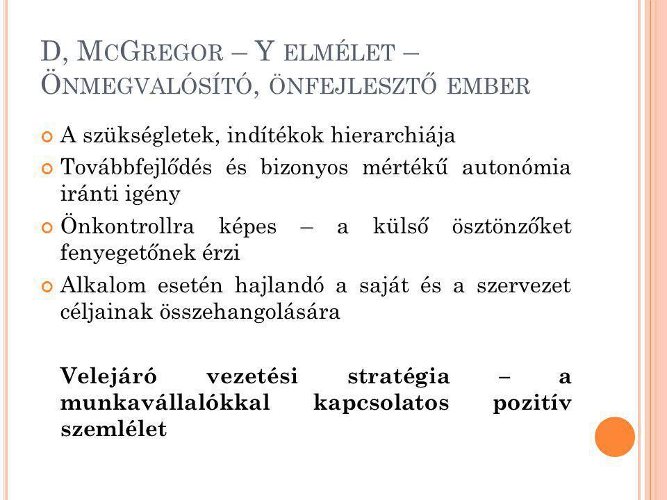 D, M C G REGOR – Y ELMÉLET – Ö NMEGVALÓSÍTÓ, ÖNFEJLESZTŐ EMBER A szükségletek, indítékok hierarchiája Továbbfejlődés és bizonyos mértékű autonómia irá