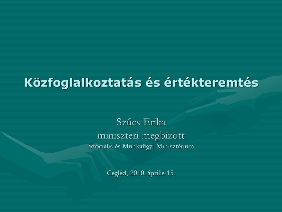 Közfoglalkoztatás és értékteremtés Szűcs Erika miniszteri megbízott Szociális és Munkaügyi Minisztérium Cegléd, 2010.