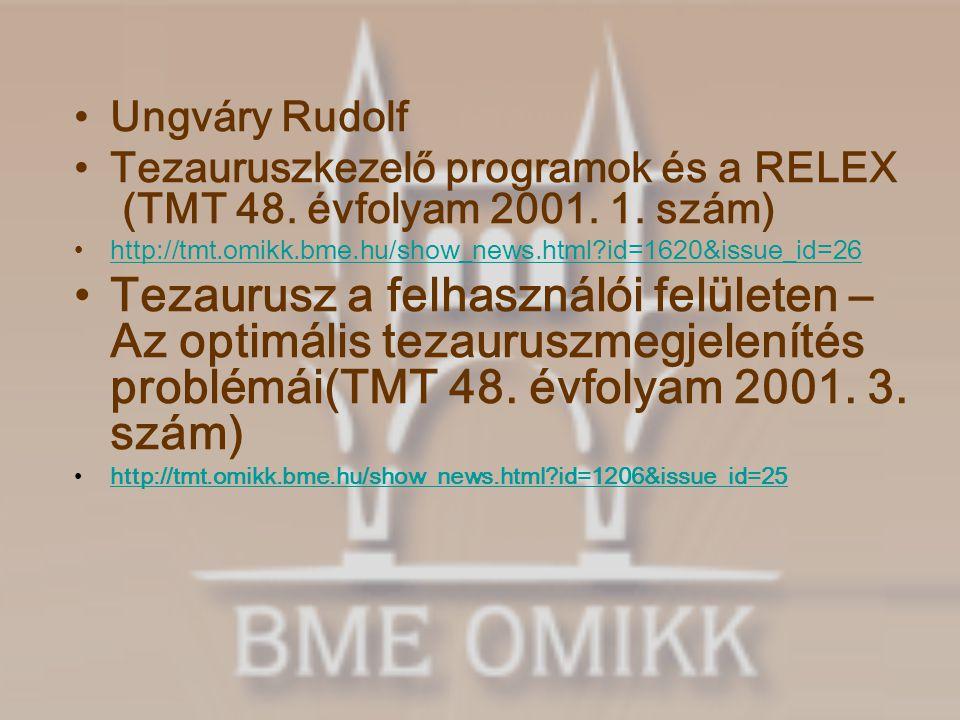 Ungváry Rudolf Tezauruszkezelő programok és a RELEX (TMT 48.