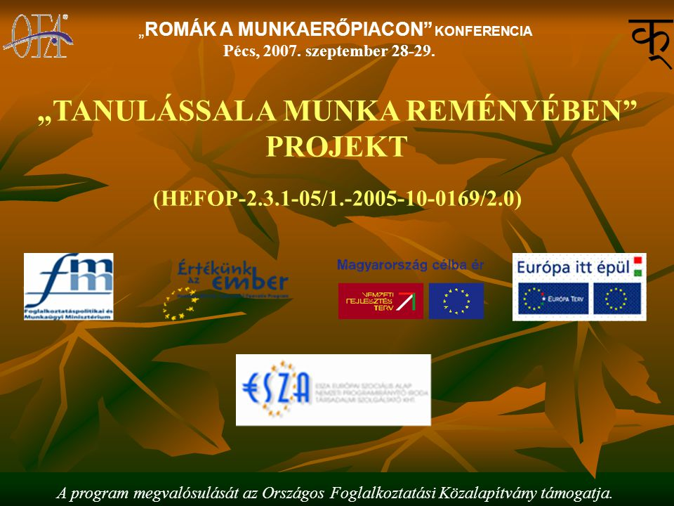 """A program megvalósulását az Országos Foglalkoztatási Közalapítvány támogatja. """"ROMÁK A MUNKAERŐPIACON"""" KONFERENCIA Pécs, 2007. szeptember 28-29. """"TANU"""