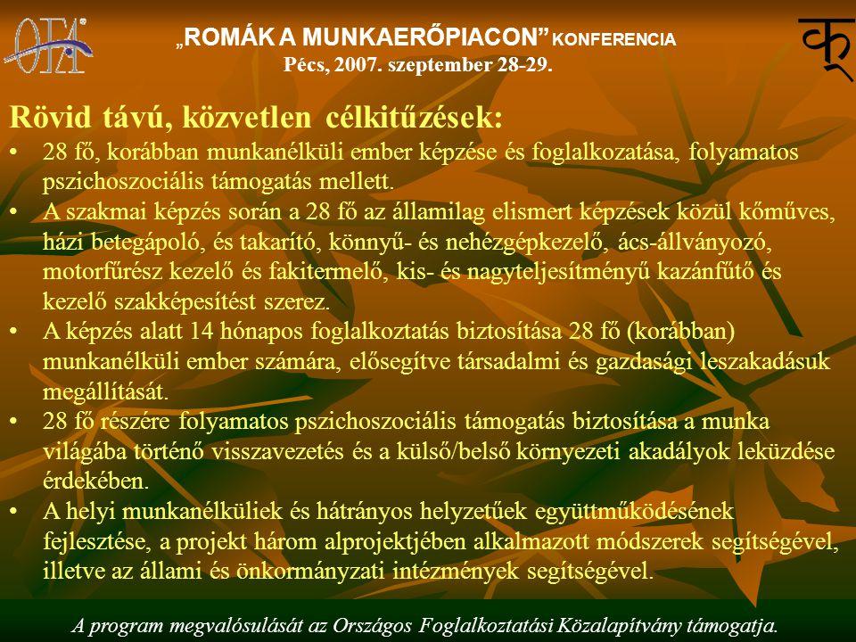 """A program megvalósulását az Országos Foglalkoztatási Közalapítvány támogatja. """"ROMÁK A MUNKAERŐPIACON"""" KONFERENCIA Pécs, 2007. szeptember 28-29. Rövid"""