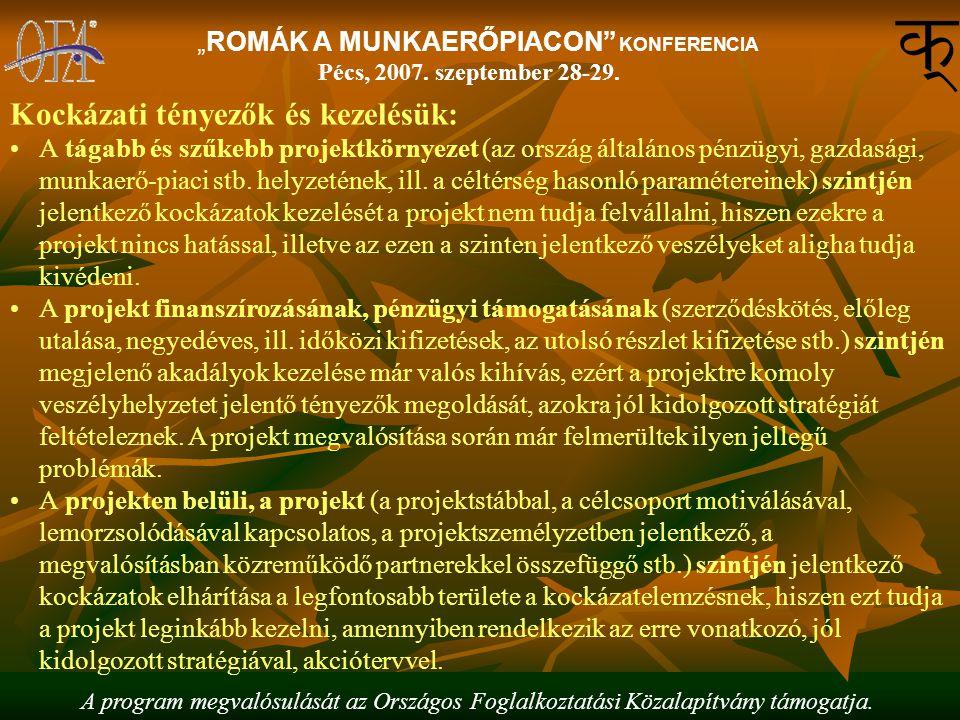"""A program megvalósulását az Országos Foglalkoztatási Közalapítvány támogatja. """"ROMÁK A MUNKAERŐPIACON"""" KONFERENCIA Pécs, 2007. szeptember 28-29. Kocká"""
