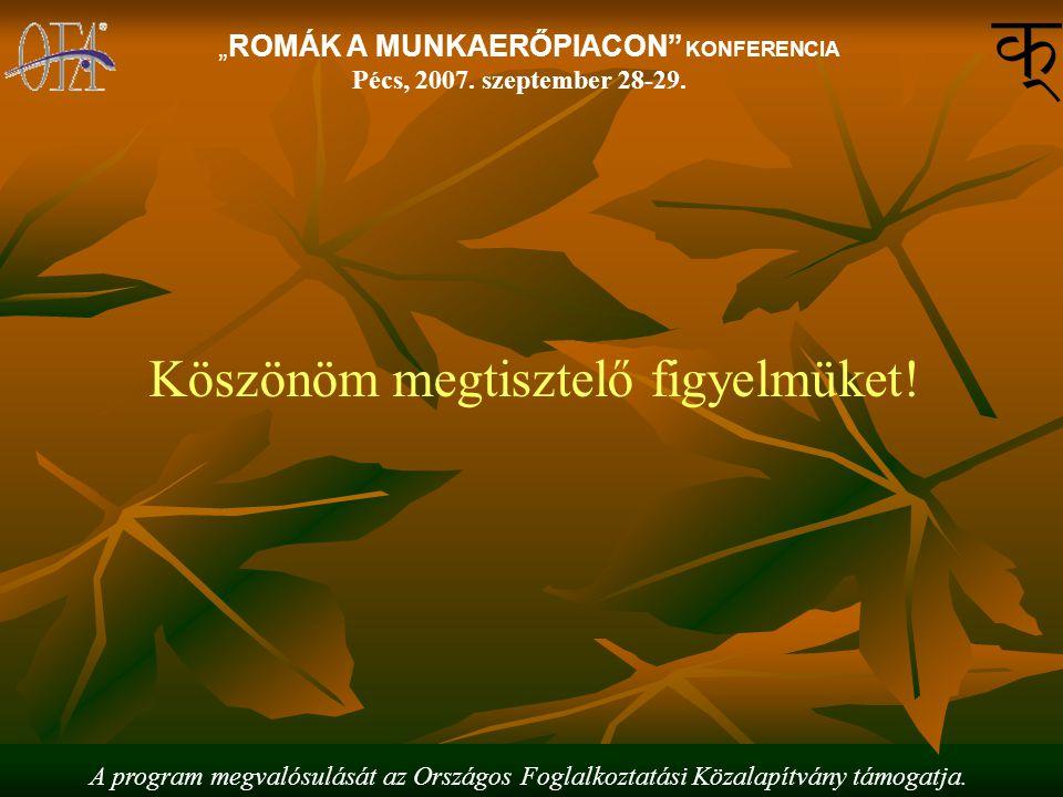 """A program megvalósulását az Országos Foglalkoztatási Közalapítvány támogatja. """"ROMÁK A MUNKAERŐPIACON"""" KONFERENCIA Pécs, 2007. szeptember 28-29. Köszö"""