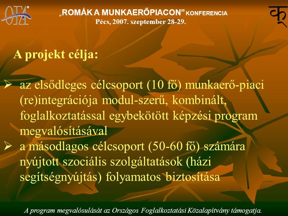 """A program megvalósulását az Országos Foglalkoztatási Közalapítvány támogatja. """"ROMÁK A MUNKAERŐPIACON"""" KONFERENCIA Pécs, 2007. szeptember 28-29.  az"""