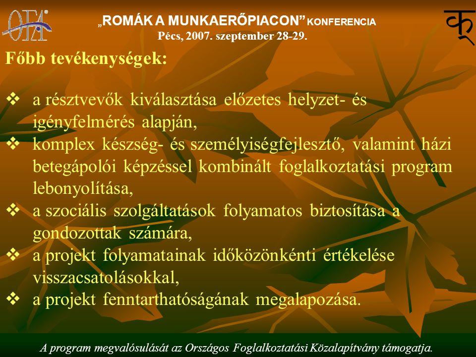 """A program megvalósulását az Országos Foglalkoztatási Közalapítvány támogatja. """"ROMÁK A MUNKAERŐPIACON"""" KONFERENCIA Pécs, 2007. szeptember 28-29. Főbb"""