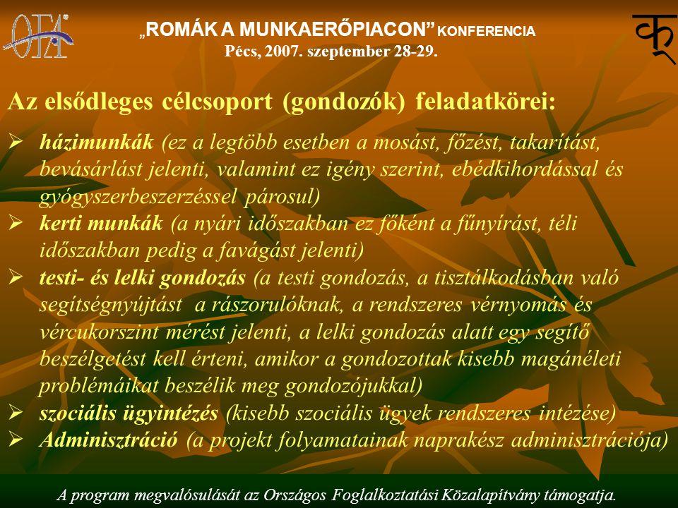 """A program megvalósulását az Országos Foglalkoztatási Közalapítvány támogatja. """"ROMÁK A MUNKAERŐPIACON"""" KONFERENCIA Pécs, 2007. szeptember 28-29. Az el"""