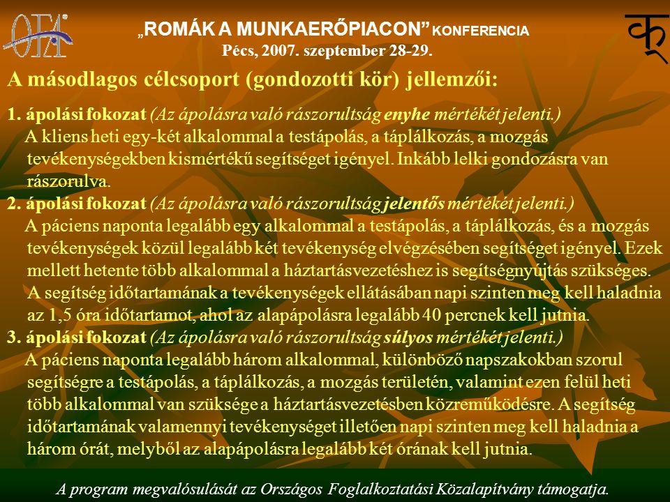 """A program megvalósulását az Országos Foglalkoztatási Közalapítvány támogatja. """"ROMÁK A MUNKAERŐPIACON"""" KONFERENCIA Pécs, 2007. szeptember 28-29. A más"""