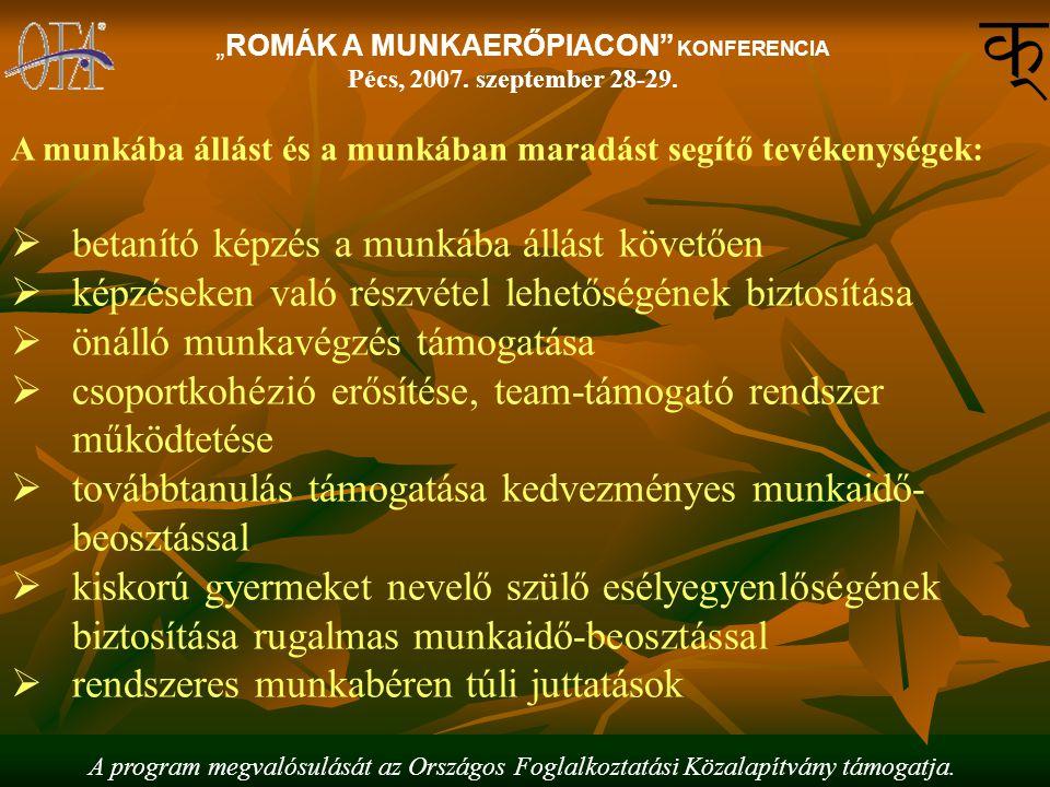 """A program megvalósulását az Országos Foglalkoztatási Közalapítvány támogatja. """"ROMÁK A MUNKAERŐPIACON"""" KONFERENCIA Pécs, 2007. szeptember 28-29. A mun"""