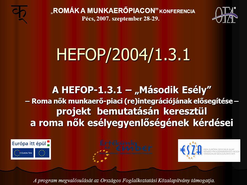 """HEFOP/2004/1.3.1 A HEFOP-1.3.1 – """"Második Esély – Roma nők munkaerő-piaci (re)integrációjának elősegítése – projekt bemutatásán keresztül a roma nők esélyegyenlőségének kérdései """"ROMÁK A MUNKAERŐPIACON KONFERENCIA Pécs, 2007."""