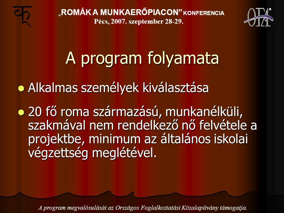 A program folyamata Alkalmas személyek kiválasztása Alkalmas személyek kiválasztása 20 fő roma származású, munkanélküli, szakmával nem rendelkező nő felvétele a projektbe, minimum az általános iskolai végzettség meglétével.