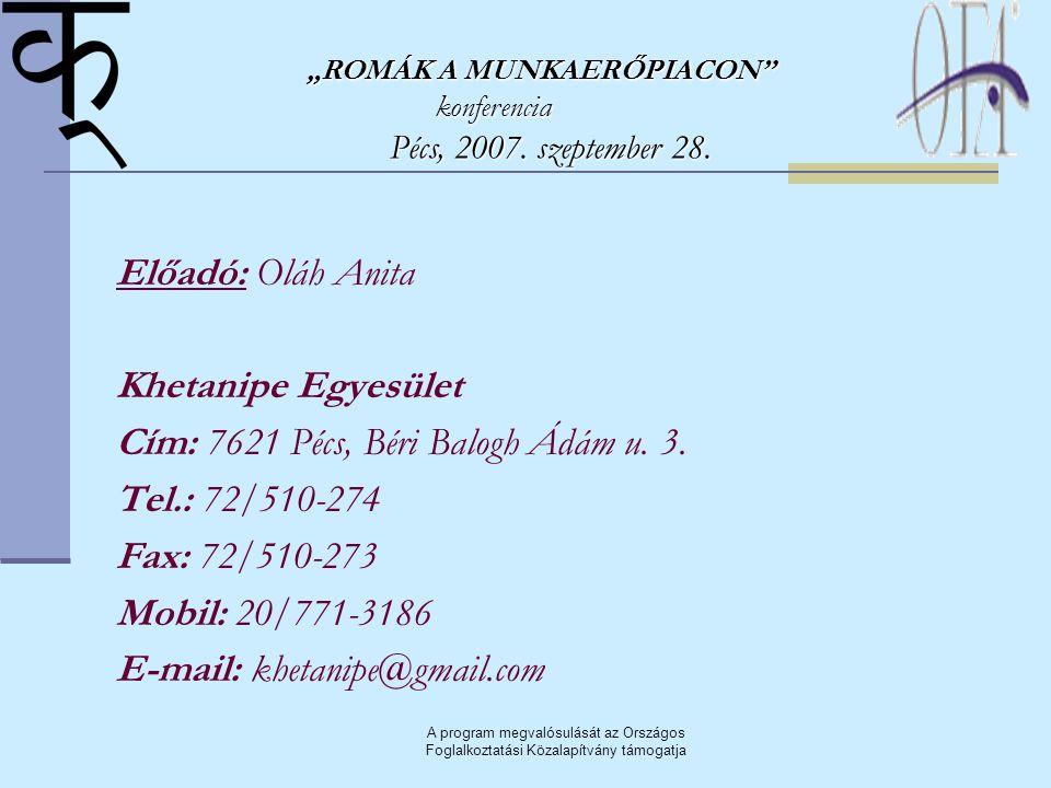 A program megvalósulását az Országos Foglalkoztatási Közalapítvány támogatja Előadó: Oláh Anita Khetanipe Egyesület Cím: 7621 Pécs, Béri Balogh Ádám u