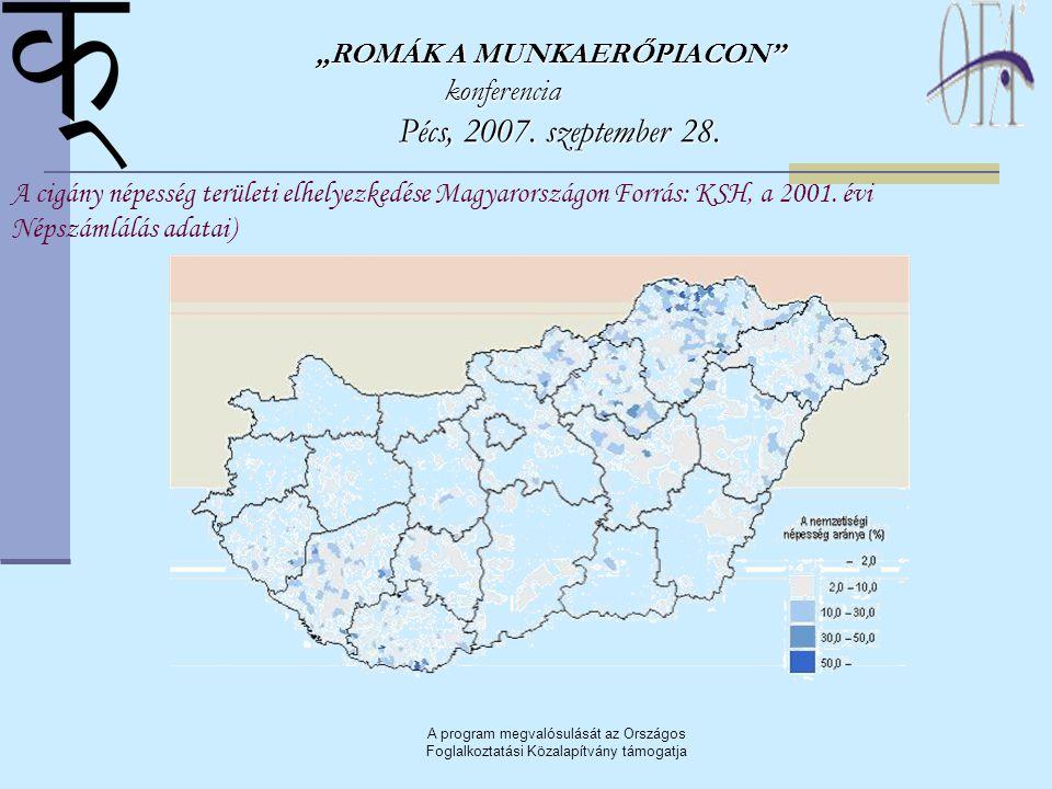 """A program megvalósulását az Országos Foglalkoztatási Közalapítvány támogatja """"ROMÁK A MUNKAERŐPIACON"""" konferencia Pécs, 2007. szeptember 28. Pécs, 200"""
