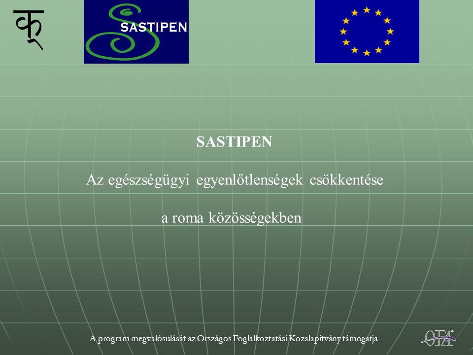 A program megvalósulását az Országos Foglalkoztatási Közalapítvány támogatja. SASTIPEN Az egészségügyi egyenlőtlenségek csökkentése a roma közösségekb