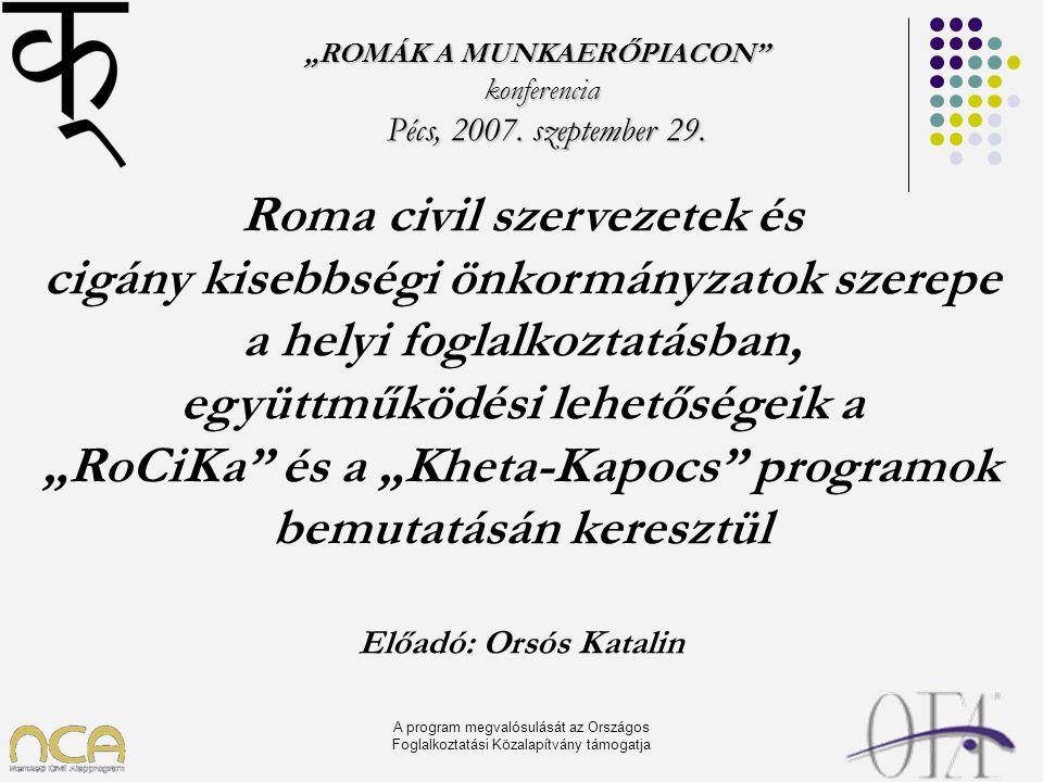 """A program megvalósulását az Országos Foglalkoztatási Közalapítvány támogatja """"ROMÁK A MUNKAERŐPIACON"""" konferencia Pécs, 2007. szeptember 29. Pécs, 200"""