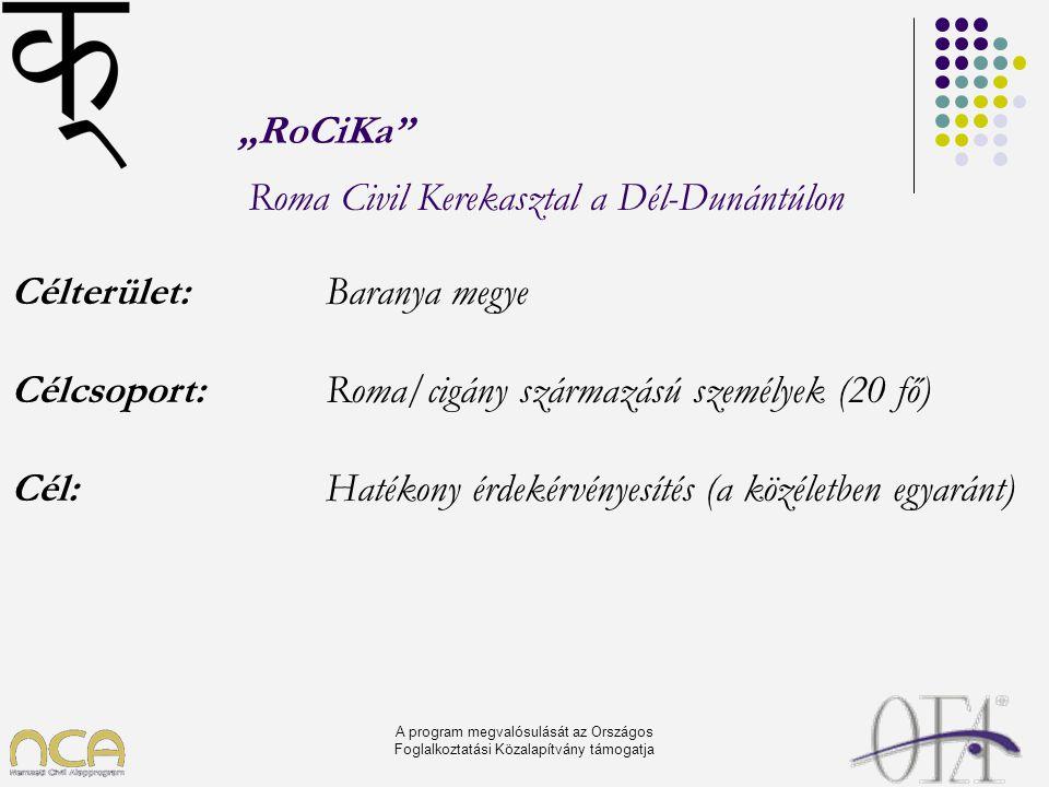 """A program megvalósulását az Országos Foglalkoztatási Közalapítvány támogatja """"RoCiKa"""" Roma Civil Kerekasztal a Dél-Dunántúlon Célterület: Baranya megy"""
