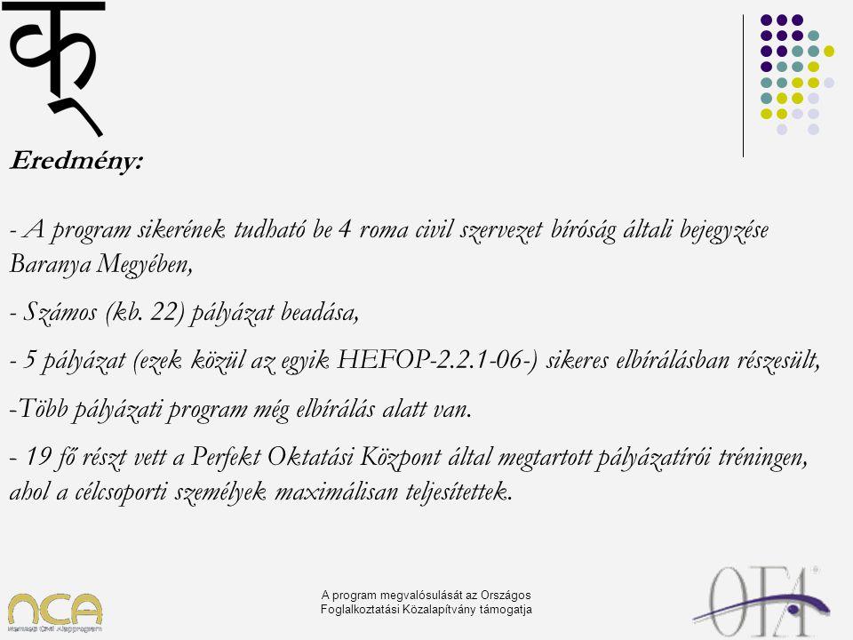 A program megvalósulását az Országos Foglalkoztatási Közalapítvány támogatja Eredmény: - A program sikerének tudható be 4 roma civil szervezet bíróság