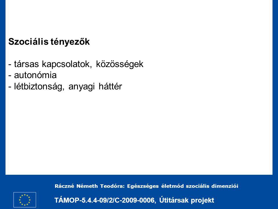 TÁMOP-5.4.4-09/2/C-2009-0006, Útitársak projekt Ráczné Németh Teodóra: Egészséges életmód szociális dimenziói Fejlesztendő kompetenciák - empátia, tolerancia, - együttműködési készség, - öngondoskodás képessége.