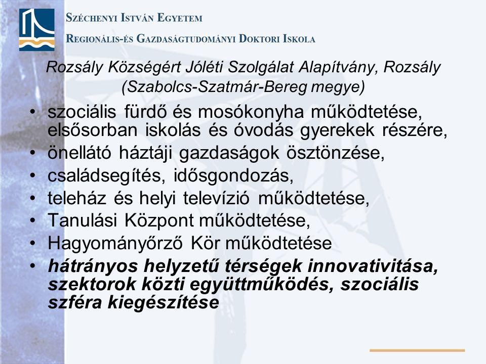 Rozsály Községért Jóléti Szolgálat Alapítvány, Rozsály (Szabolcs-Szatmár-Bereg megye) szociális fürdő és mosókonyha működtetése, elsősorban iskolás és