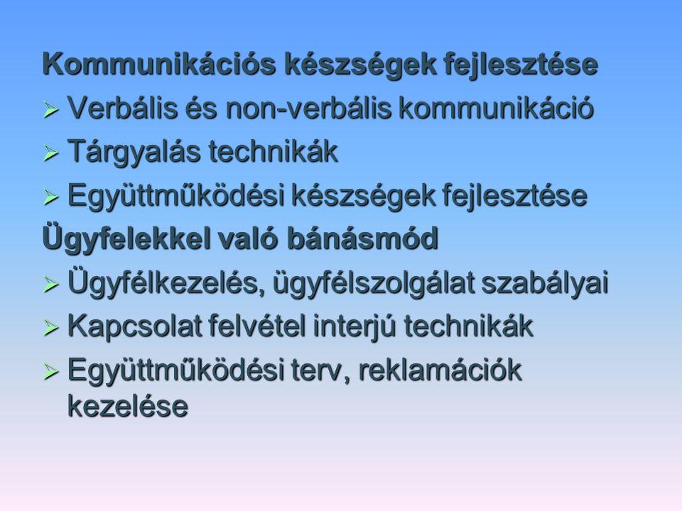 Kommunikációs készségek fejlesztése  Verbális és non-verbális kommunikáció  Tárgyalás technikák  Együttműködési készségek fejlesztése Ügyfelekkel v
