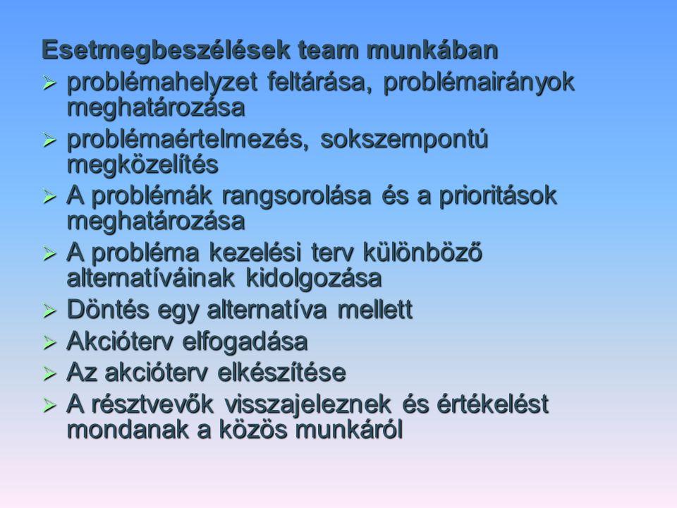 Esetmegbeszélések team munkában  problémahelyzet feltárása, problémairányok meghatározása  problémaértelmezés, sokszempontú megközelítés  A problém