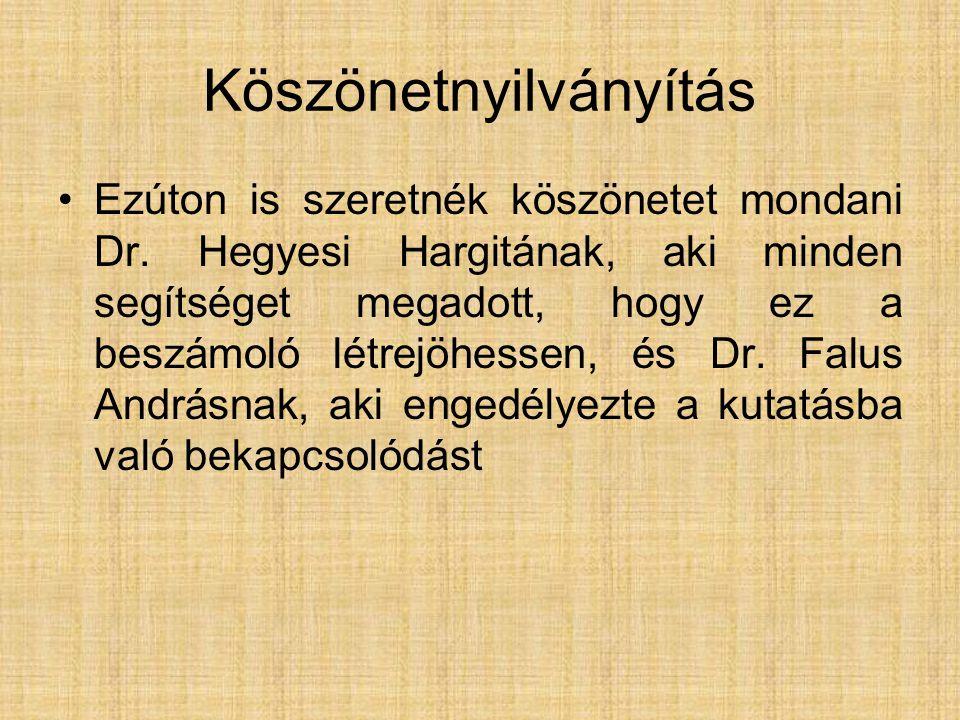 Köszönetnyilványítás Ezúton is szeretnék köszönetet mondani Dr. Hegyesi Hargitának, aki minden segítséget megadott, hogy ez a beszámoló létrejöhessen,