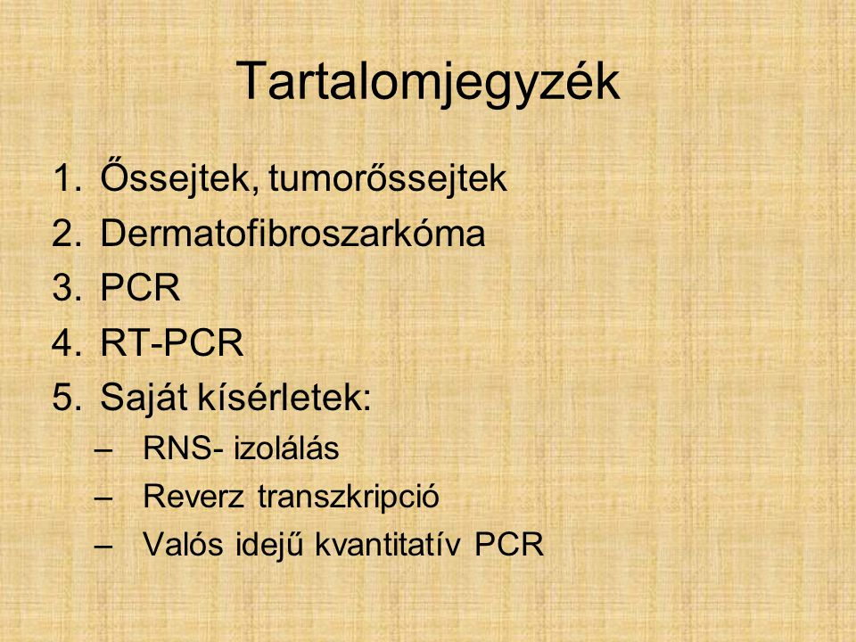 Tartalomjegyzék 1.Őssejtek, tumorőssejtek 2.Dermatofibroszarkóma 3.PCR 4.RT-PCR 5.Saját kísérletek: –RNS- izolálás –Reverz transzkripció –Valós idejű