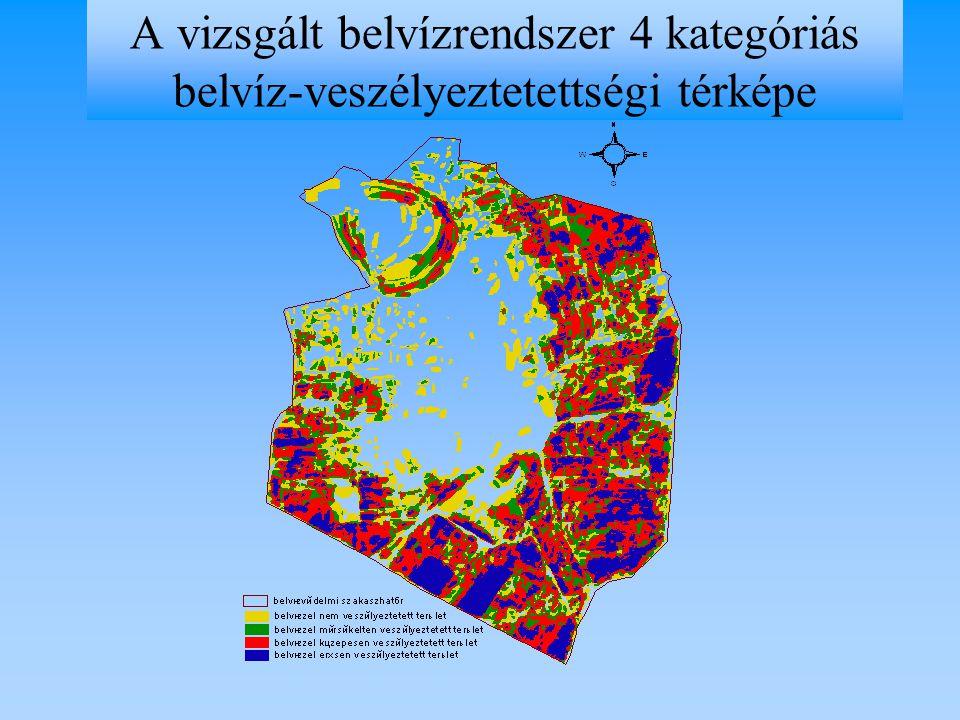 A vizsgált belvízrendszer 4 kategóriás belvíz-veszélyeztetettségi térképe