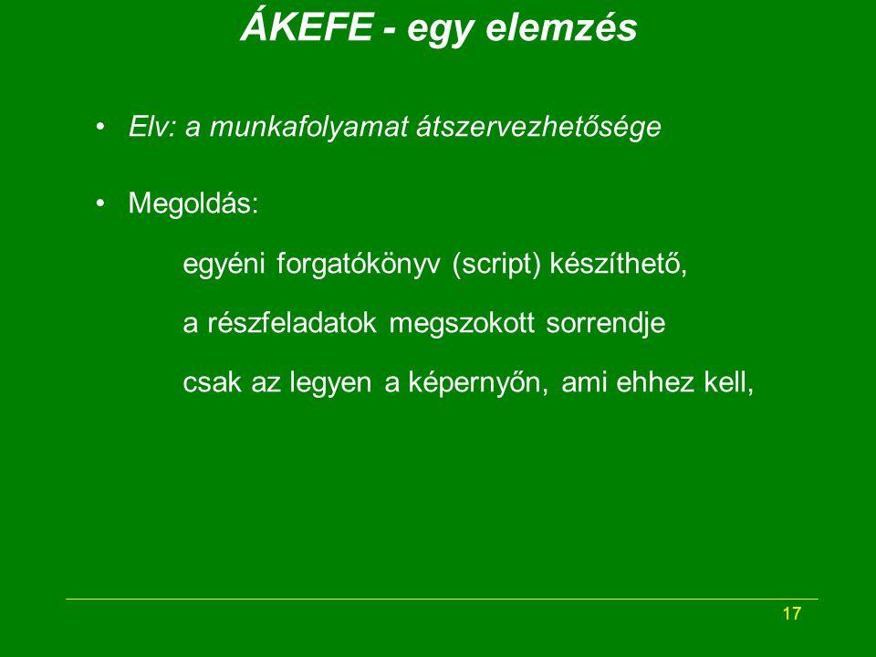 17 ÁKEFE - egy elemzés Elv: a munkafolyamat átszervezhetősége Megoldás: egyéni forgatókönyv (script) készíthető, a részfeladatok megszokott sorrendje csak az legyen a képernyőn, ami ehhez kell,