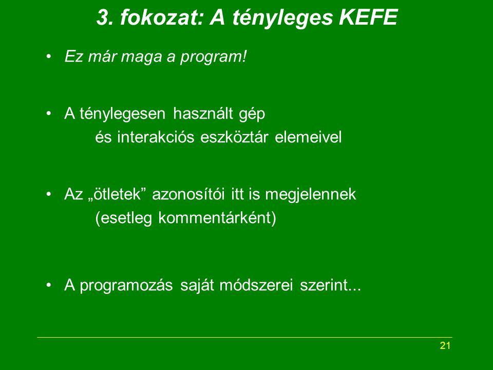21 3. fokozat: A tényleges KEFE Ez már maga a program.
