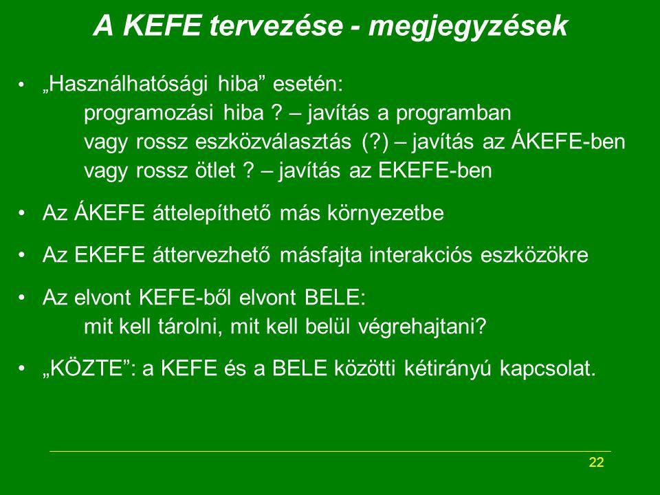 """22 A KEFE tervezése - megjegyzések """" Használhatósági hiba esetén: programozási hiba ."""