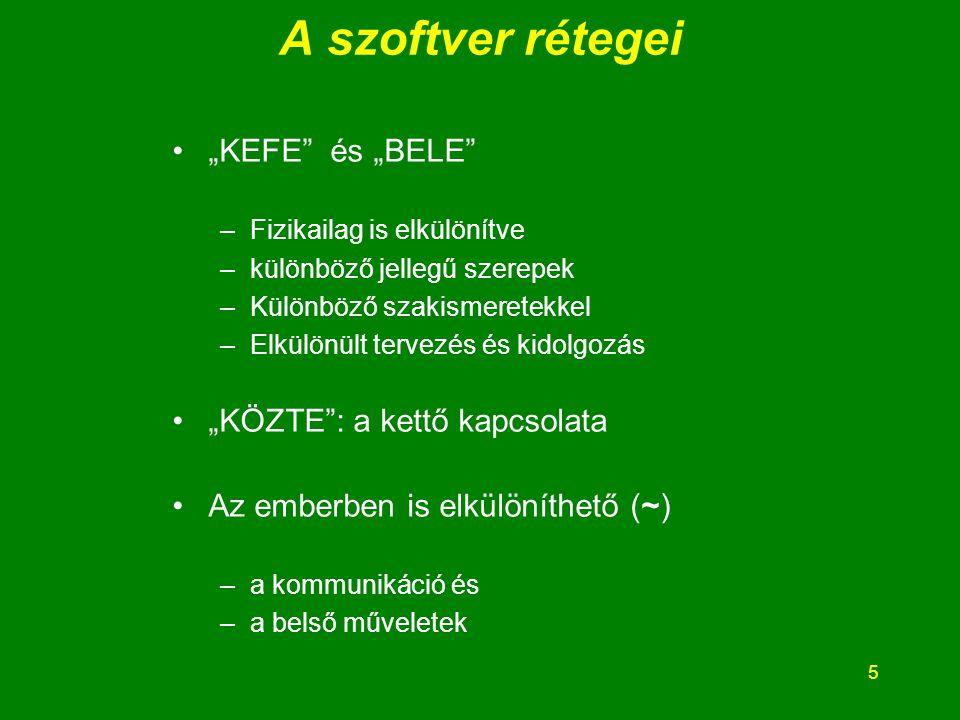 6 A KEFE fokozatos tervezése A KEFE elvont leírása általános leírása tényleges leírása A részletek fokozatos kifejtése