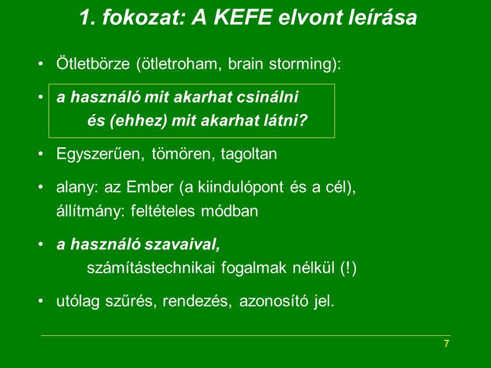 7 1. fokozat: A KEFE elvont leírása Ötletbörze (ötletroham, brain storming): a használó mit akarhat csinálni és (ehhez) mit akarhat látni? Egyszerűen,