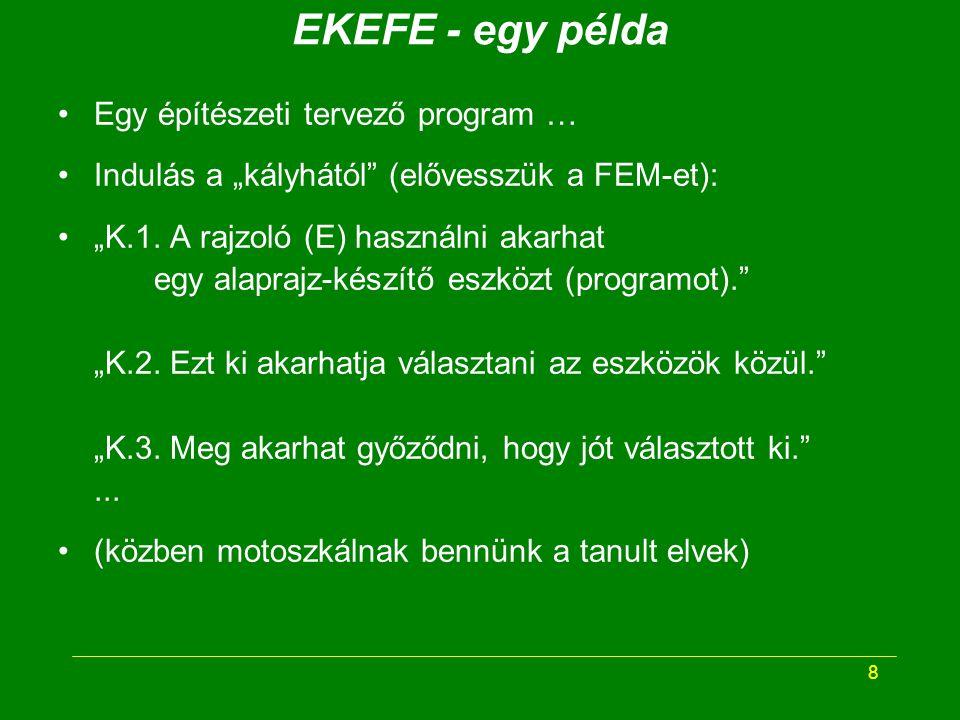 19 ÁKEFE - összefoglalás Az elvont KEFE rendezett ötletei (és a FEM) alapján általános KEFE fogalmakkal tervezzük meg az EKEFE ötleteinek megvalósítását.