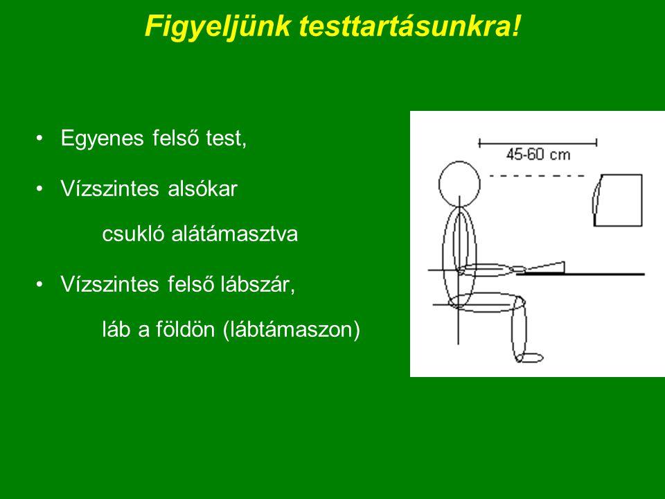 Figyeljünk testtartásunkra! Egyenes felső test, Vízszintes alsókar csukló alátámasztva Vízszintes felső lábszár, láb a földön (lábtámaszon)