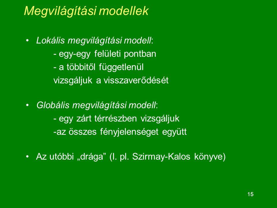 """15 Megvilágítási modellek Lokális megvilágítási modell: - egy-egy felületi pontban - a többitől függetlenül vizsgáljuk a visszaverődését Globális megvilágítási modell: - egy zárt térrészben vizsgáljuk -az összes fényjelenséget együtt Az utóbbi """"drága (l."""