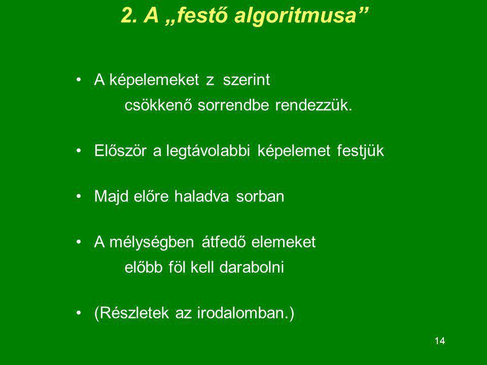 """14 2. A """"festő algoritmusa"""" A képelemeket z szerint csökkenő sorrendbe rendezzük. Először a legtávolabbi képelemet festjük Majd előre haladva sorban A"""