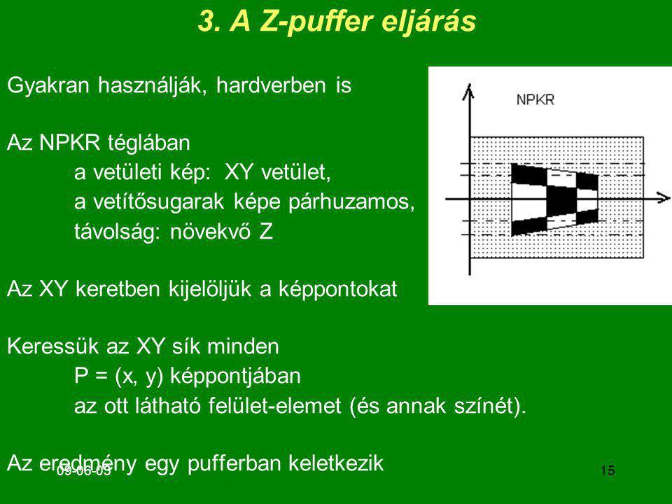 09-06-03 3. A Z-puffer eljárás Gyakran használják, hardverben is Az NPKR téglában a vetületi kép: XY vetület, a vetítősugarak képe párhuzamos, távolsá