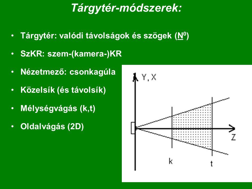 Tárgytér-módszerek: Tárgytér: valódi távolságok és szögek (N 0 ) SzKR: szem-(kamera-)KR Nézetmező: csonkagúla Közelsík (és távolsík) Mélységvágás (k,t) Oldalvágás (2D)