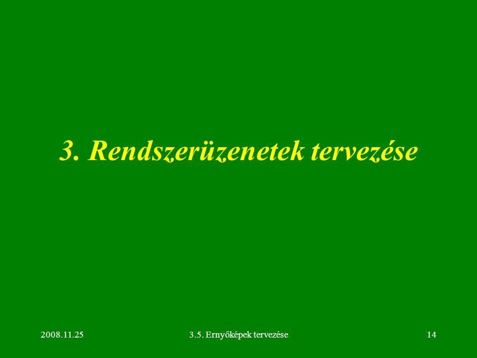 2008.11.253.5. Ernyőképek tervezése14 3. Rendszerüzenetek tervezése